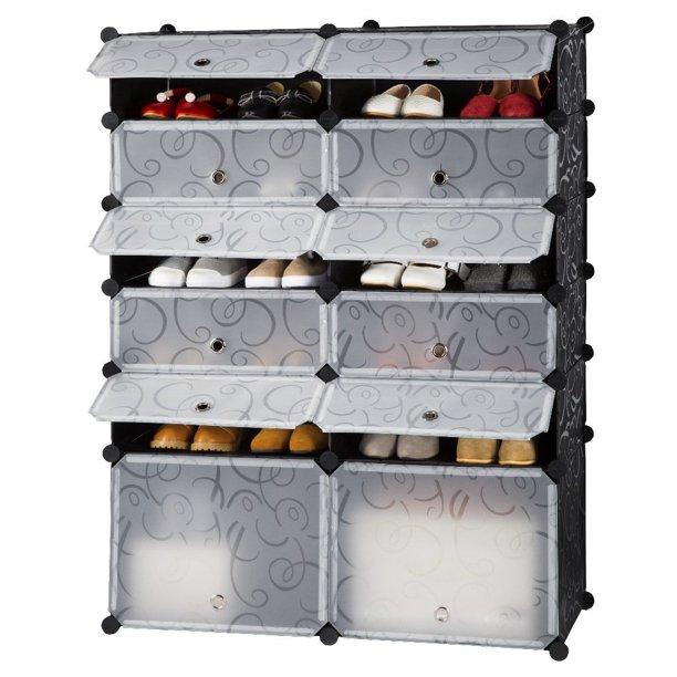 LANGRIA 12-Cube DIY Shoe Rack, Multi Use Bedroom Cabinet Modular
