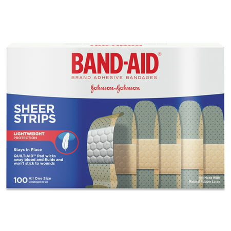 "BAND-AID Sheer Adhesive Bandages, 3/4"" x 3"", 100/Box"