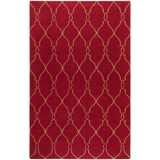 2' x 3' Earthy Bloom Bright Red and Brown Hand Woven Wool Area Throw Rug