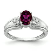 Primal Gold 14 Karat White Gold 7x5mm Oval Rhodolite Garnet and Diamond Ring
