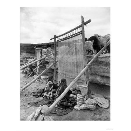 Navajo Women Weaving Blankets Photograph Print Wall Art By Lantern Press