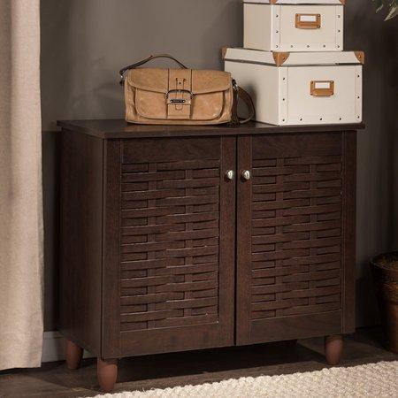 baxton studio winda modern and contemporary 2 door dark brown wooden entryway shoe storage. Black Bedroom Furniture Sets. Home Design Ideas