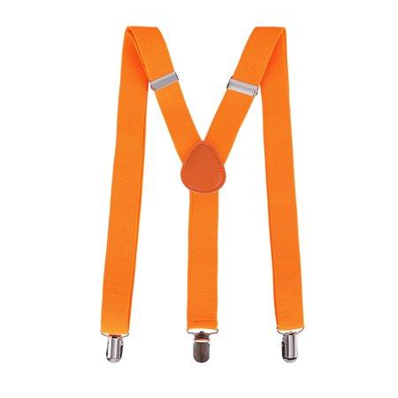 Halloween Party Accessory Unisex Clip-On Adjustable Elastic Suspenders, Orange
