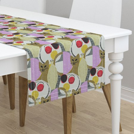 Table Runner Mid Century Modern Kitten Mod Scandi Cat Kitten Retro Cotton Sateen