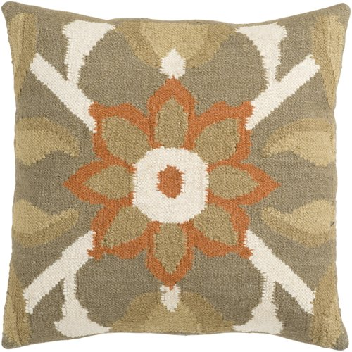 Surya Floral Medallion Decorative Pillow - Taupe