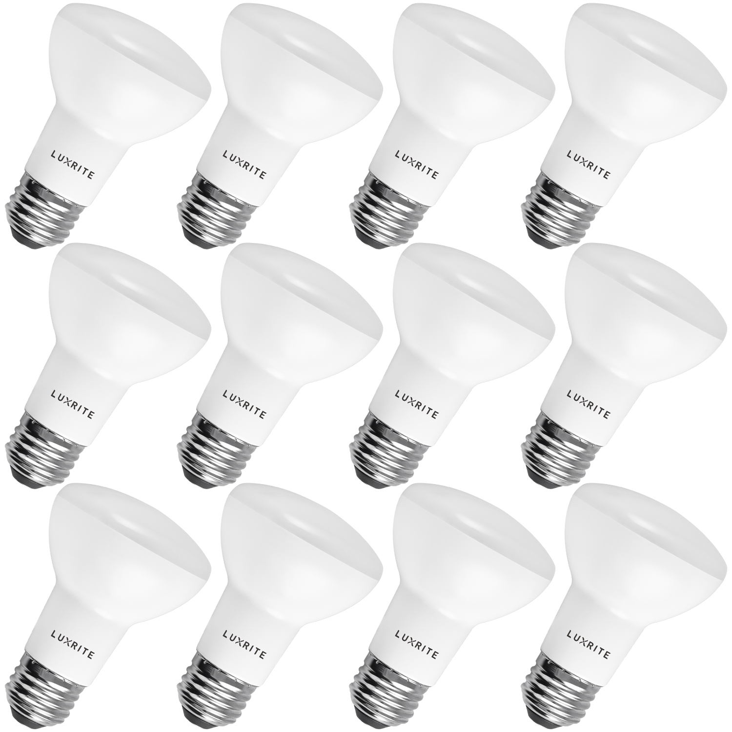 12-Pack BR20 LED Bulb, Luxrite, 45W Equivalent, 2700K Warm White, Dimmable, 460 Lumen, R20 LED Flood Light Bulb, 6.5W, ENERGY STAR, E26 Medium Base, Damp Rated, Perfect for Recessed and Track Lighting