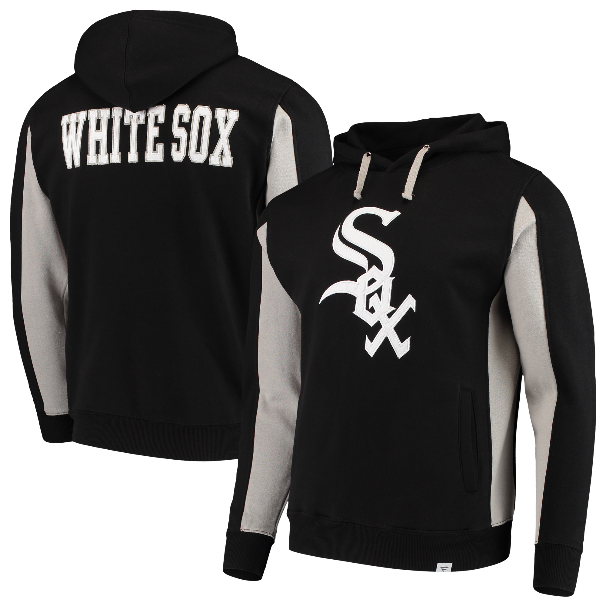 Chicago White Sox Fanatics Branded Team Logo Iconic Fleece Pullover Hoodie - Black/White