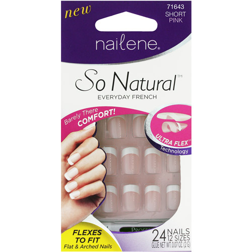 Nailene So Natural Everyday French Artificial Nail Kit, 71643 Short Pink, 27 pc