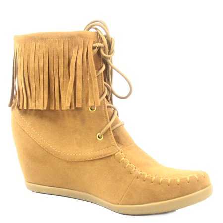 Glady-84 Women's Fashion Fringe Lace UP Low Wedge Sneaker Booties (Brown Lace Shoes)