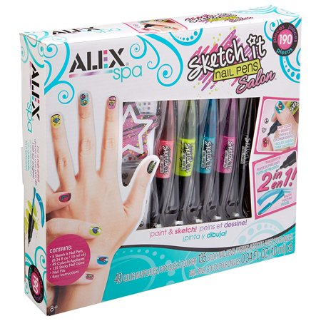 ALEX Spa Sketch It Nail Pens Salon, 190 piece kit to show off your custom nail design skills By ALEX Toys,USA ()
