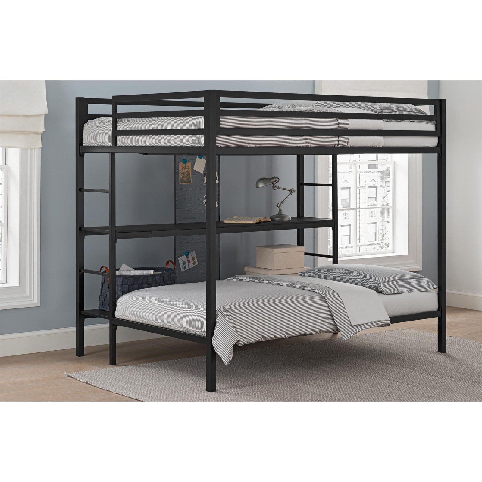 Dorel DHP Ultimate Full Over Twin Metal Bunk Bed with Storage, Black