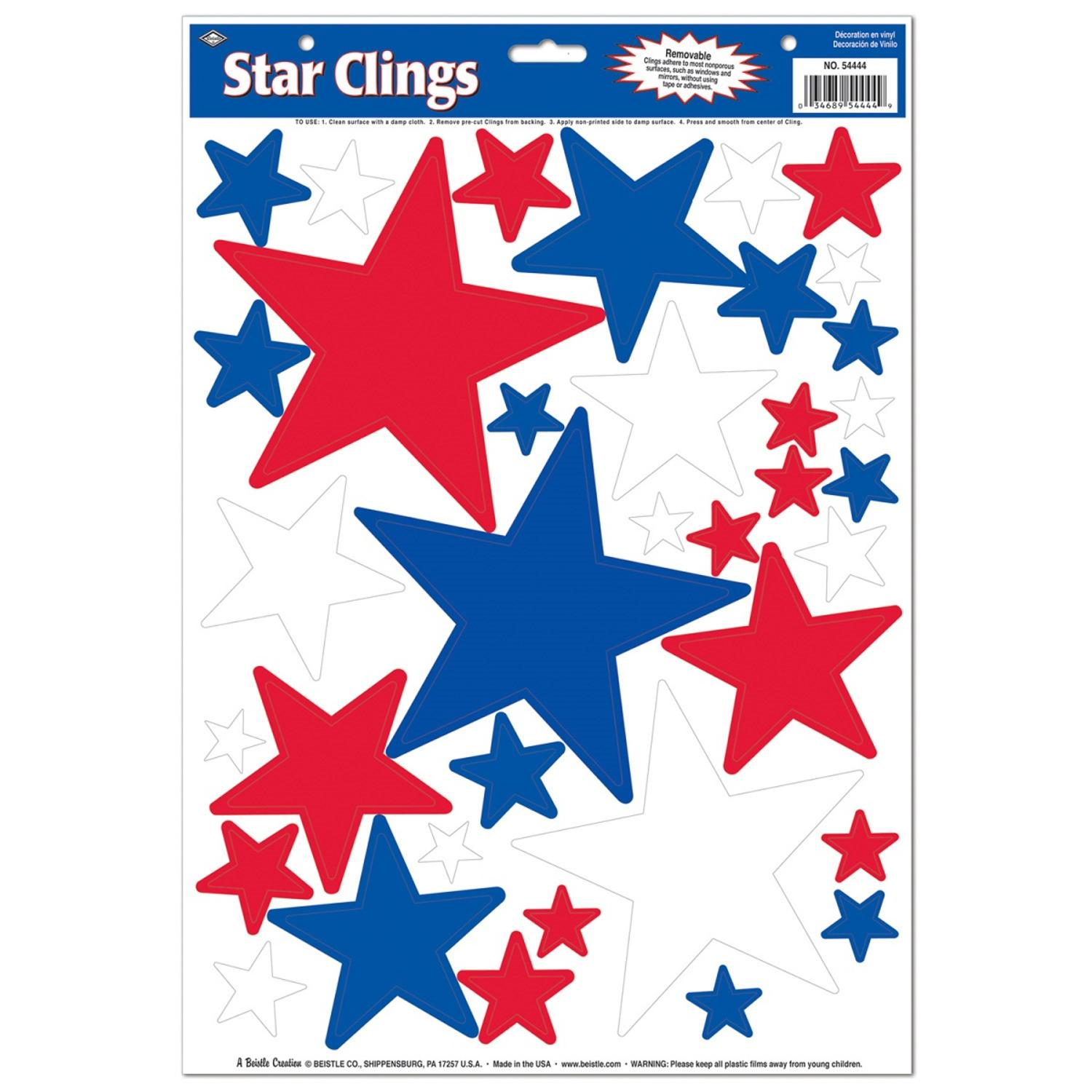 Window Cling Decorations club pack of 432 patriotic red, white and blue star window cling