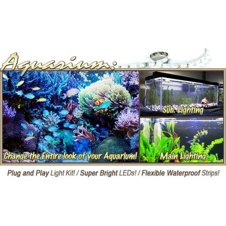 Biltek 6' ft Warm White Aquarium Tank Coral White LED Backlight Night Light On/Off Switch Control Kit - Main Lighting Sub Fresh Water Salt Water Tanks Water Resistant 3528 SMD Flexible DIY 110V-220V - image 4 de 5