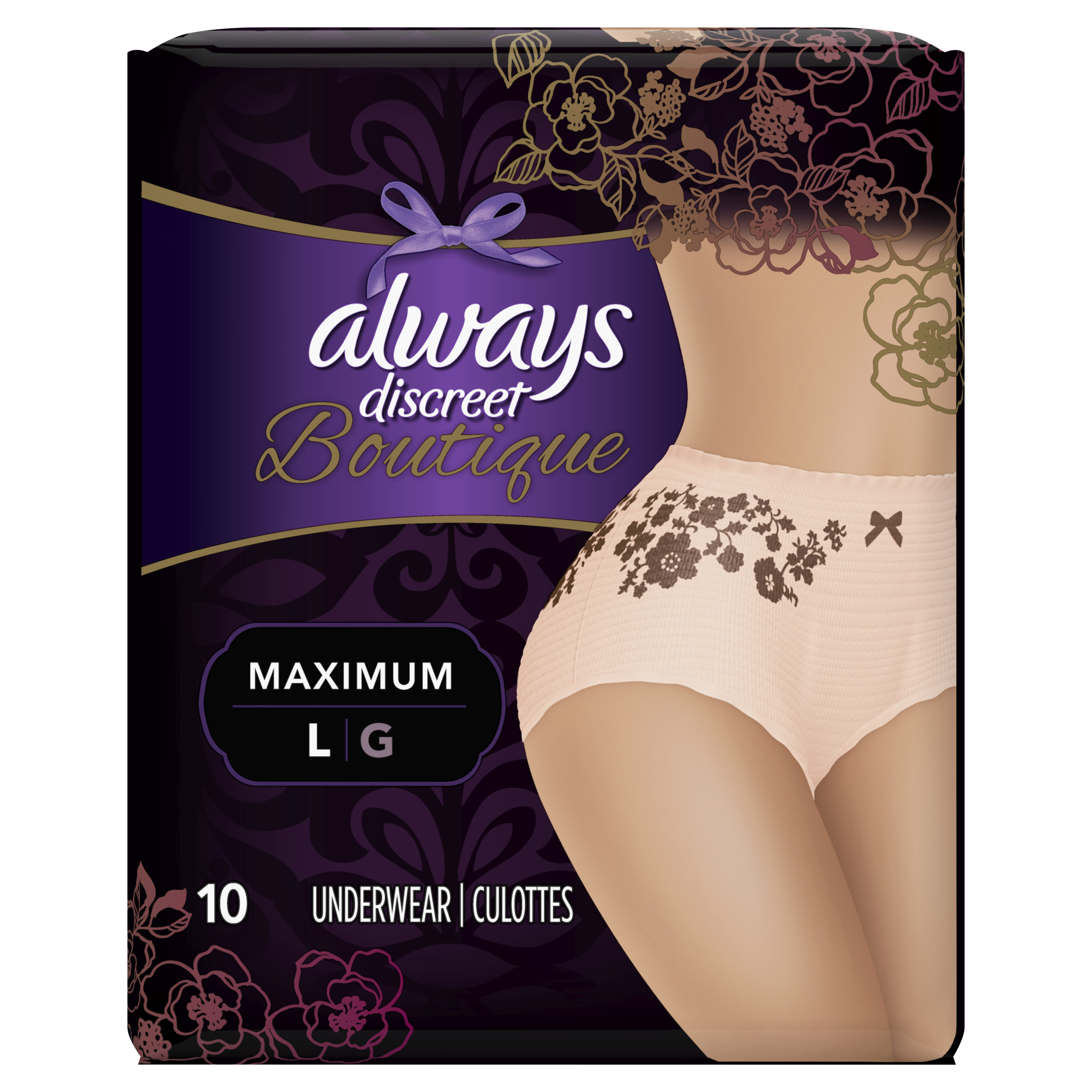 Always Discreet Boutique, Incontinence Underwear for Women, Maximum Protection, Peach, Large, 10 Count