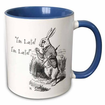 3dRose Alice in Wonderland White Rabbit. Im Late - John Tenniel illustration - Two Tone Blue Mug, 11-ounce