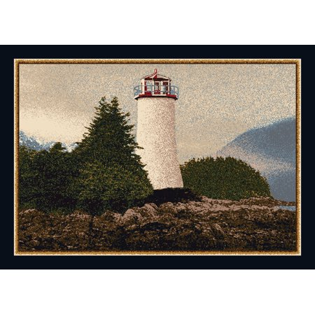 Milliken Seasonal Inspirations Area Rugs - Novelty 12000 Sapphire Lighthouse Pines Summer Rug