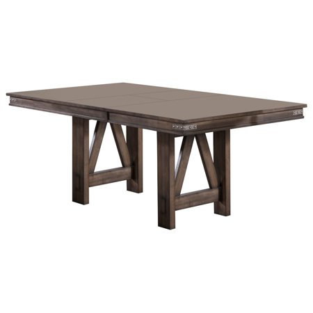 Oslo Dining Room Table Brown Wood With 18 Butterfly Leaf Extension Transitional