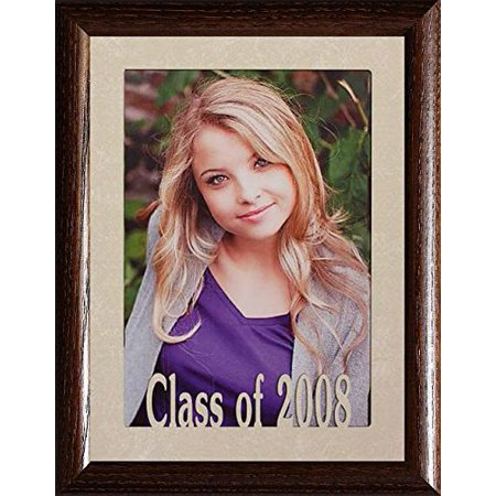 5X7 Jumbo ~ Class Of 2008 Portrait Picture Frame ~ Laser Cream Marbled Matboard With Hardwood Frame (2008 Cream)
