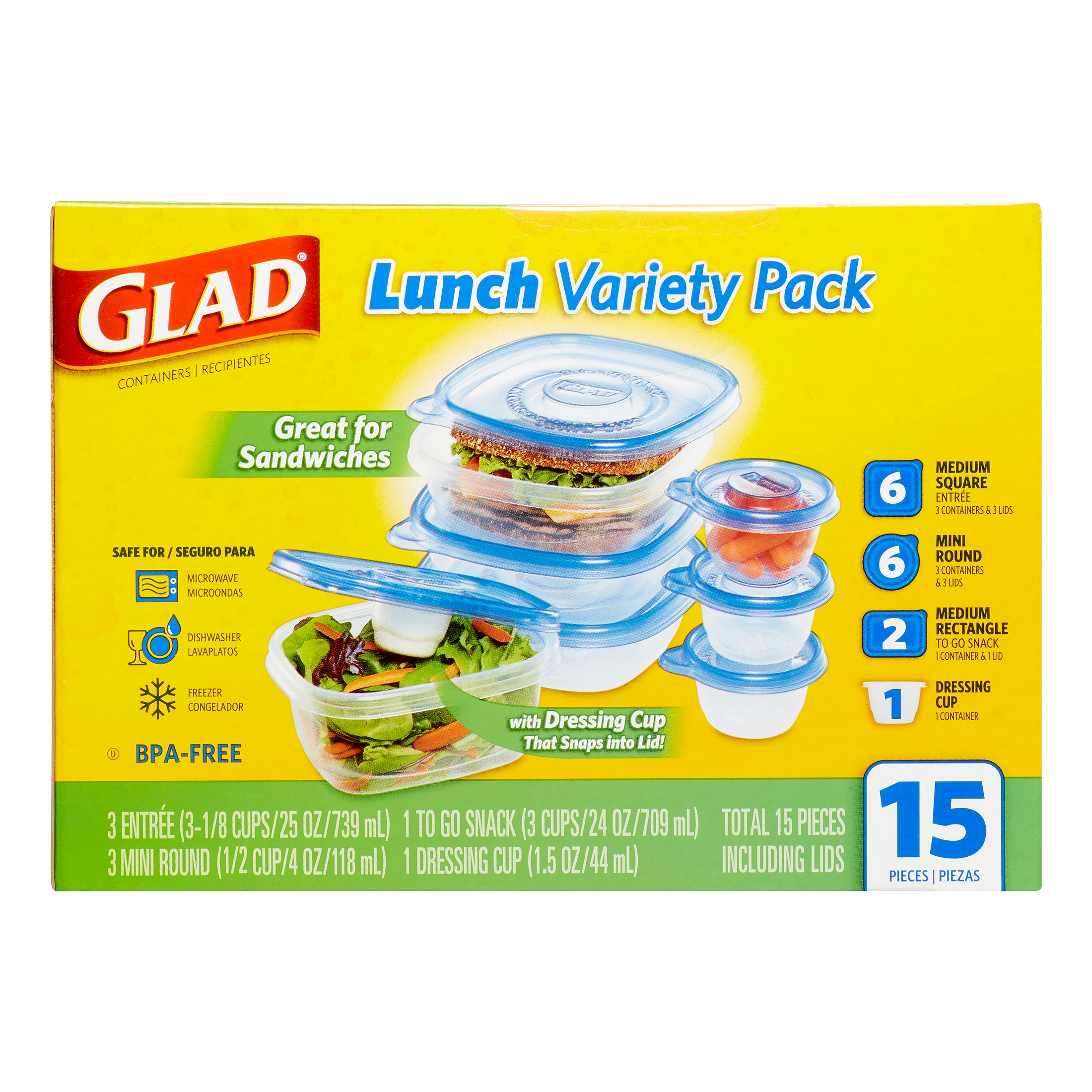 Glad Food Storage Containers, Variety Pack, 15 Ct