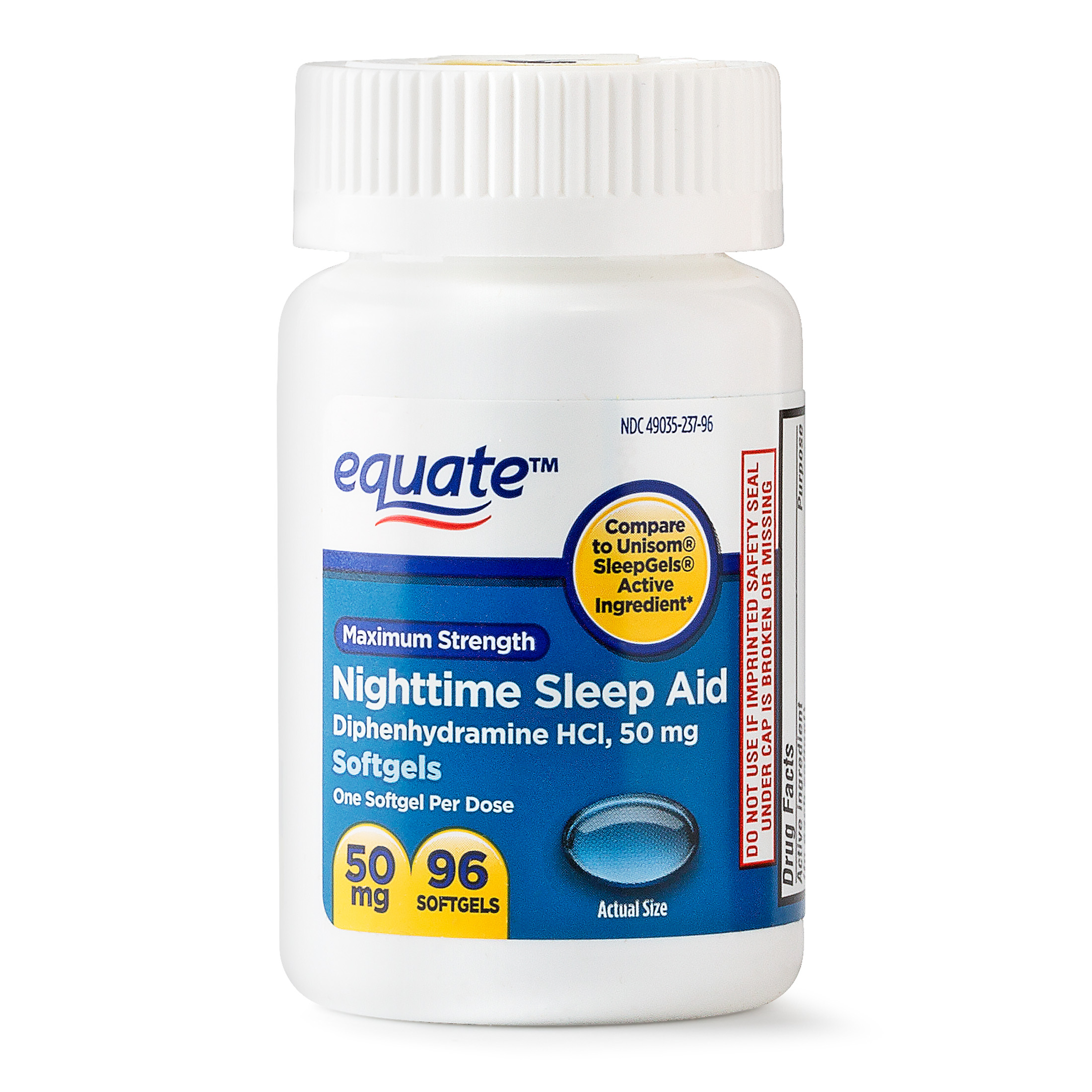 Equate Maximum Strength Nighttime Sleep Aid Softgels, 50 mg, 96 Ct