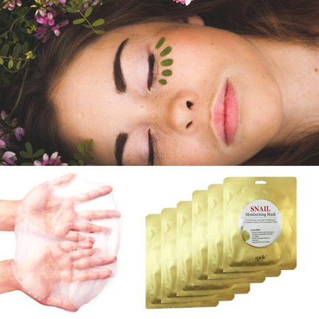 6 Pack Snail Face Mask Baba de Caracol Wrinkles Scars Acne Stretch Marks
