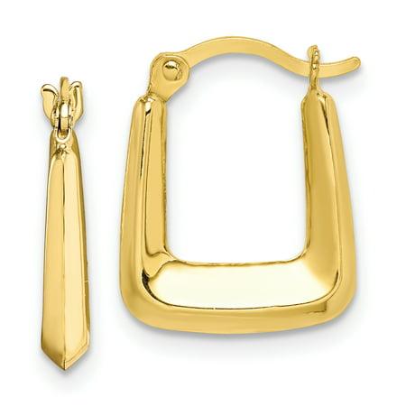 10k Yellow Gold Squared Hoop Earrings Ear Hoops Set