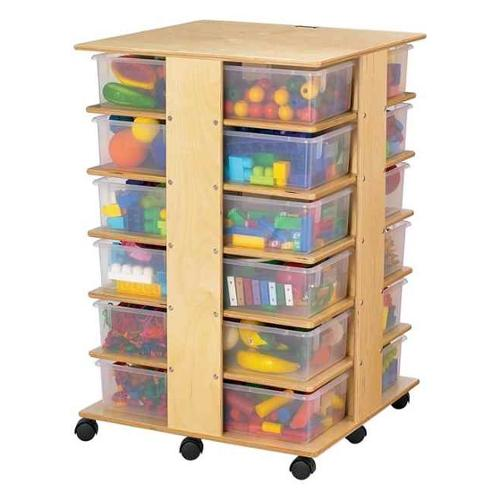 Jonti Craft Kid's Four Sided Storage Tower w 24 Cubbies (Colored Tubs)