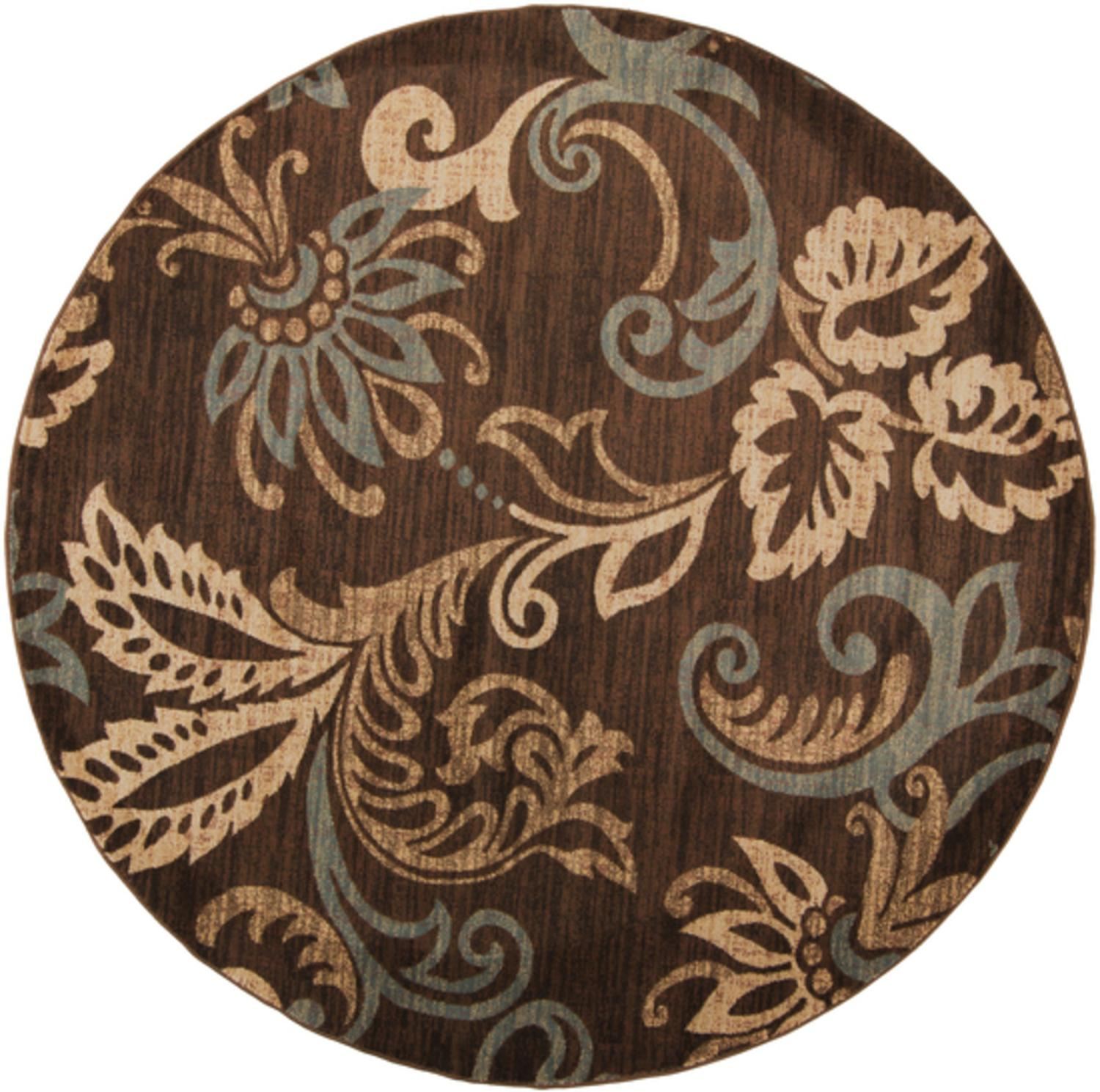 8' Paisley Leaves Brown and Tan Shed-Free Round Area Throw Rug