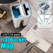 Flat Floor Mop and Bucket Set, Wet & Dry Self Cleaning Drying Self Wringing Mop Bucket System Flat Floor Free Hand Wash Mop for Home Kitchen
