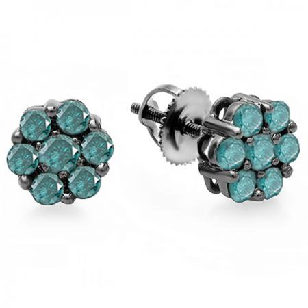 Dazzlingrock Collection 0.40 Carat (ctw) Black Plated 10K Round Cut Blue Diamond Cluster Flower Stud Earrings, White - Black Diamond Cluster Earrings