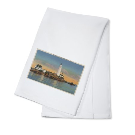 Boston, Massachusetts - Boston Lighthouse at Boston Harbor #2 - Vintage Halftone (100% Cotton Kitchen Towel)