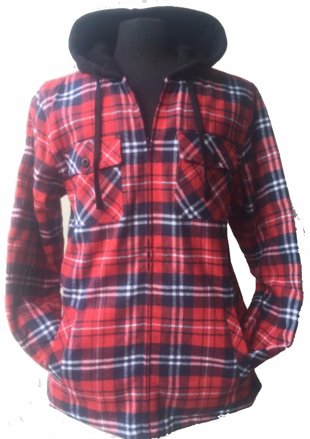 Golden Tree Big and Tall Mens Full Zip Hooded Flannel Sherpa Lined Long Sleeve Warm Jacket