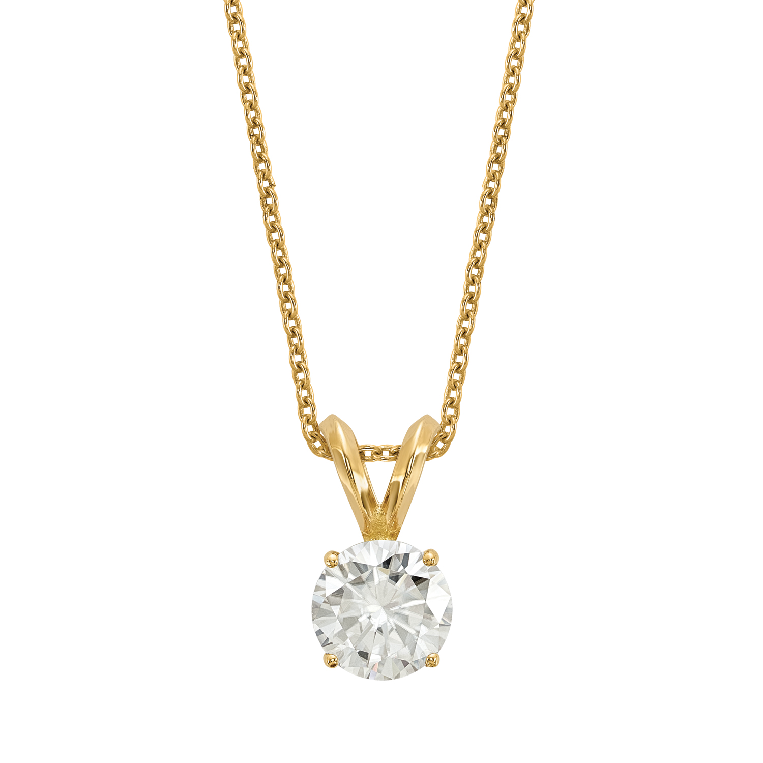 Radiant Fire® Lab Grown 1/2 Ct Round Diamond Solitaire Necklace, SI2 clarity, D E F color, in 14K Yellow Gold