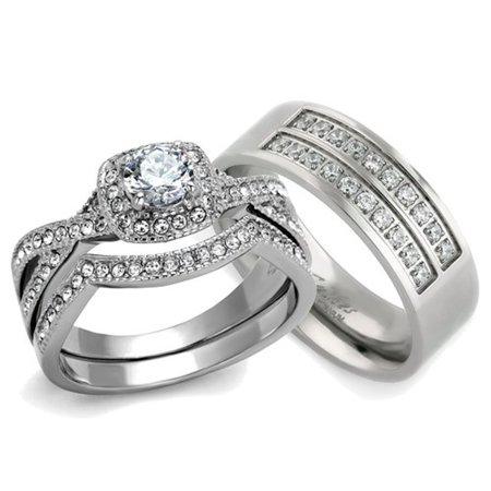 HIS & HER 3PC SILVER STAINLESS STEEL & TITANIUM WEDDING ENGAGEMENT RING Band SET Size Women's 10 Men's 10 (Titanium Engagement Ring For Her)
