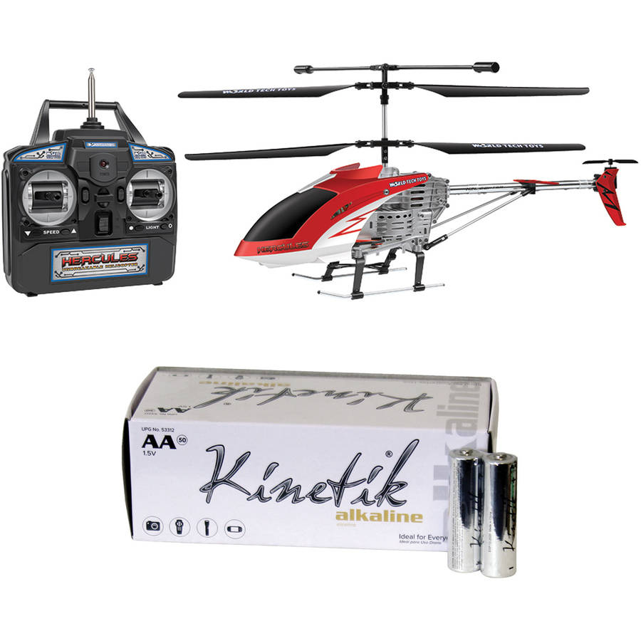 World Tech Toys 35850 3.5-Channel Hercules Gyro RC Helicopter and Kinetik AA Battery Kit, 50 Pack