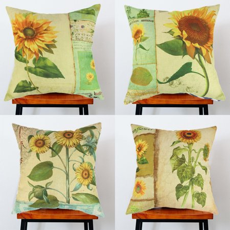 Wendana Sunflowers Set of 4 Sofa Decorative Cushion Throw Pillow Covers 18 x 18,Farmhouse Pillows Accent Pillows For Sofa Mother's Day Pillow Case,Home Decoration
