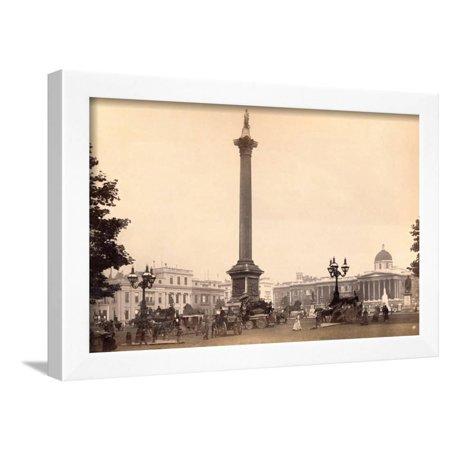 Nelson Square (Nelson Monument in Trafalgar Square Framed Print Wall Art )