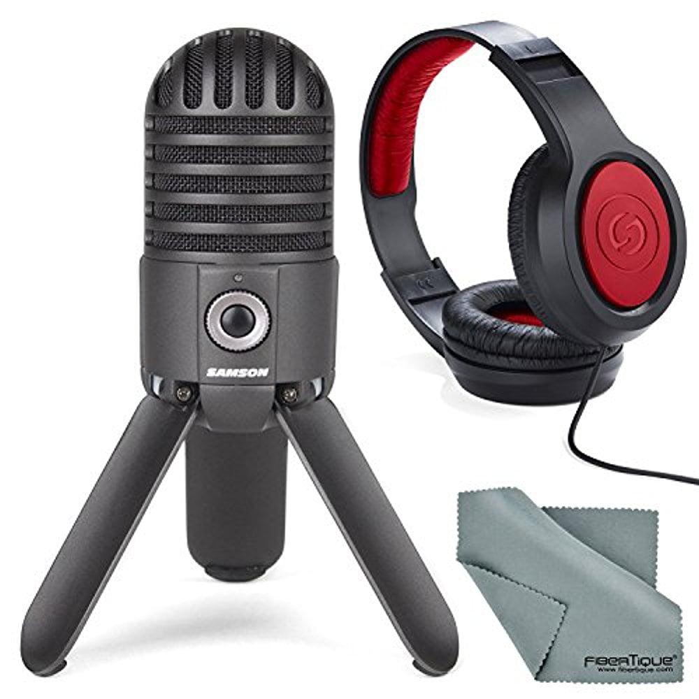 Samson Meteor Mic Studio USB Condenser Microphone Kit with Headphones and Fibertique Cleaning Cloth (Titanium Black)