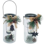 """Pack of 6 Clear, Green and Brown Mason Jar Christmas Tea Light Candle Holders 9.25"""""""