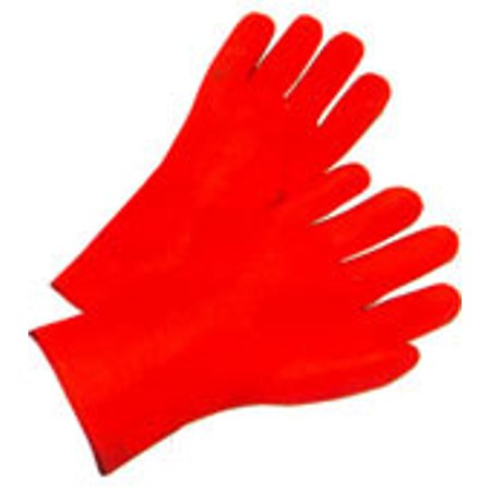 Orange PVC coated gloves with foam lining and safety cuff Mens Size