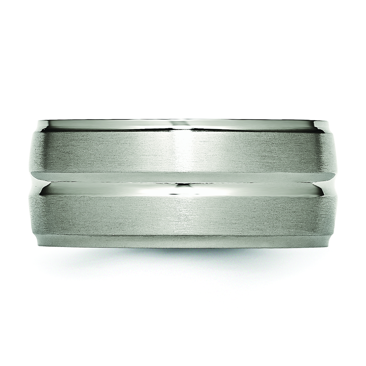 Titanium Grooved Ridged Edge 10mm Brushed and Polished Band Size 14 - image 2 de 3