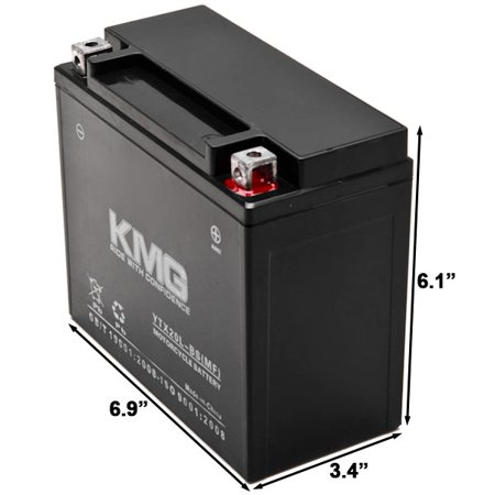 KMG Battery for Harley-Davidson 1803 CVO FLST Softail 2010-2012 YTX20L-BS Sealed Maintenace Free Battery High Performance 12V OEM Replacement Maintenance Free Powersport - image 2 de 3