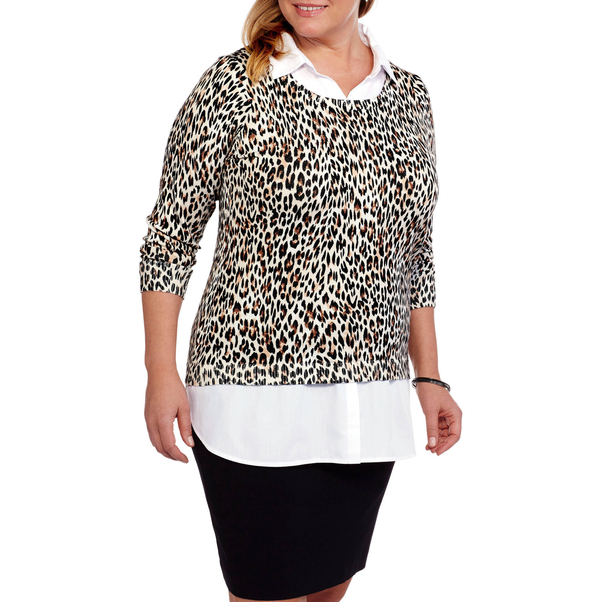 Faded Glory Women's Plus Twofer Sweater with Built in Collared Shirt