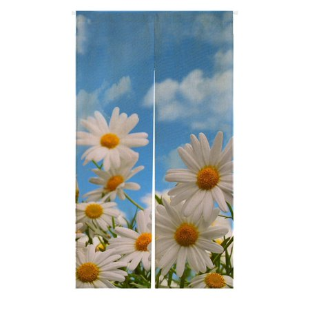 GCKG Elegant Natural Wild White Daisy Flower Field Under The Blue Sky Japanese Noren Doorway Curtain Doorway Curtain Door Curtain Entrance Curtain Size 85x150cm