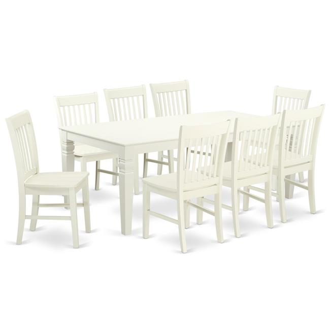 9 Piece Solid Wood Dining Set With Table And 8 Chairs: East West Furniture LGNO9-LWH-W 9-Piece Dining Room Set