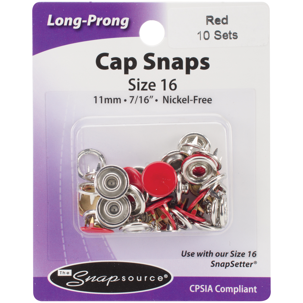 Capped Long-Prong Snaps Size 16 10/Pkg-Flame Red