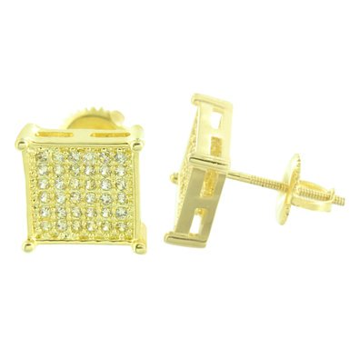 Square Shape Men Earrings Lab Created Cubic Zirconias Micro Pave Yellow Gold Finish Screw Back