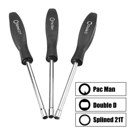 3Pcs Carburetor Adjustment Tool Kit Screwdriver Set for Common 2 Cycle Engine Carburetor Tune up Adjusting Tool Double D x1, Pac Man x1, Spined 21T x1