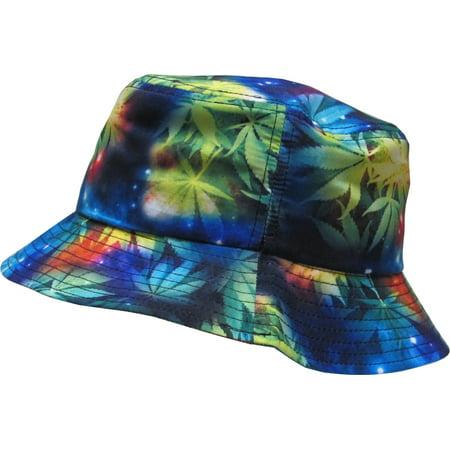 Weed Leaf Marijuana Galaxy Bucket Hat Fashion Space Print Summer Cap ()