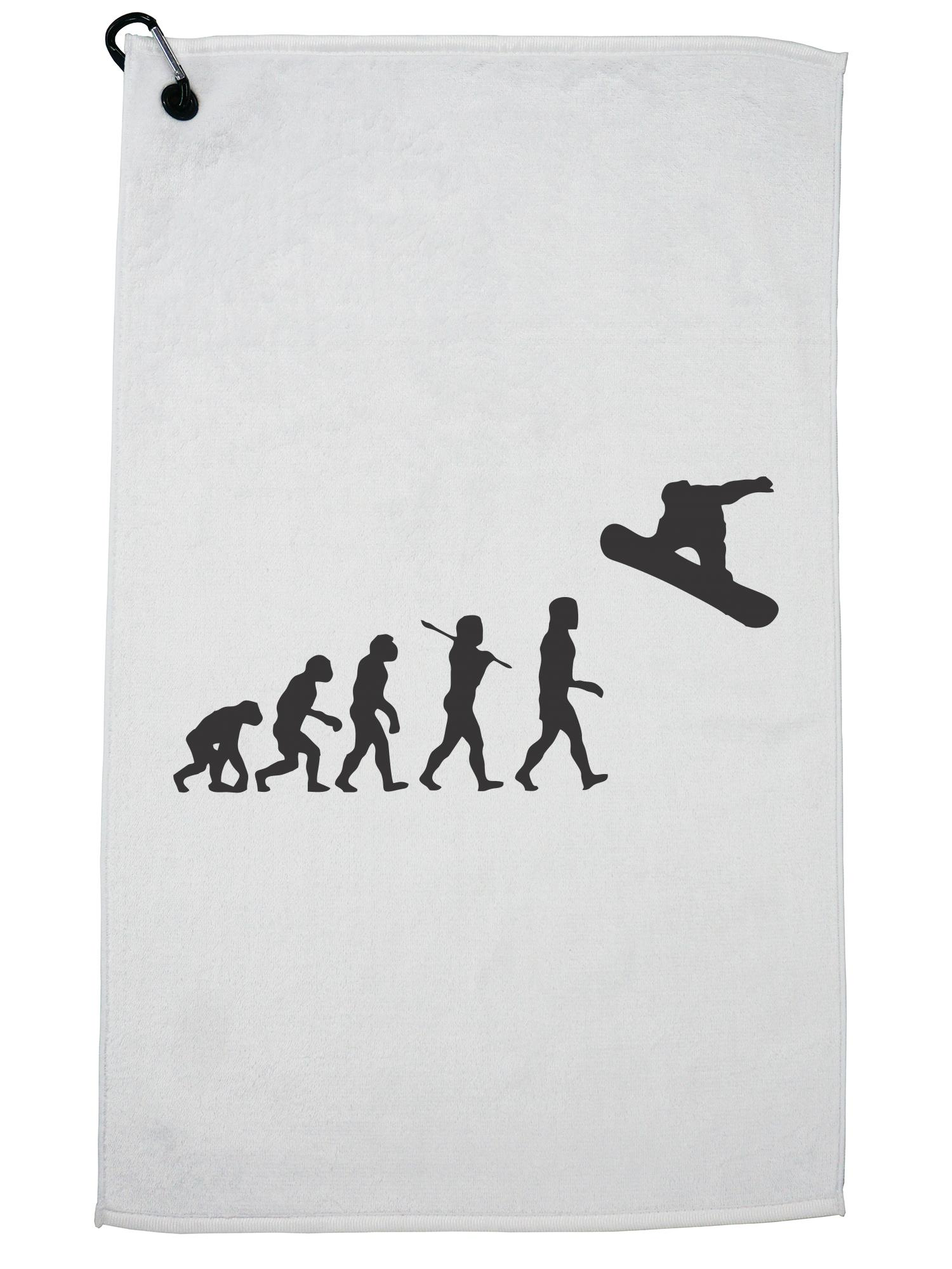 Evolution of Man Snowboarding Jumping Silhouette Golf Towel with Carabiner Clip by Hollywood Thread